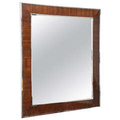 Wall Mirror in Polished Chrome and Mahogany