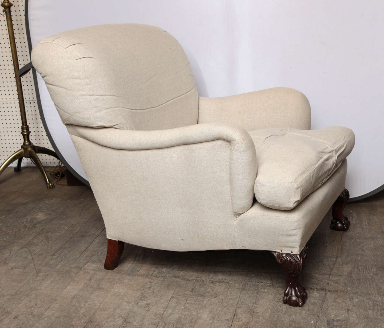 Howard Style Upholsetered Library Armchair at 1stdibs