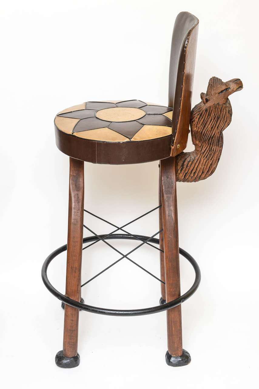 Pair Of Whimsical Carved Camel Motif Bar Stools At 1stdibs
