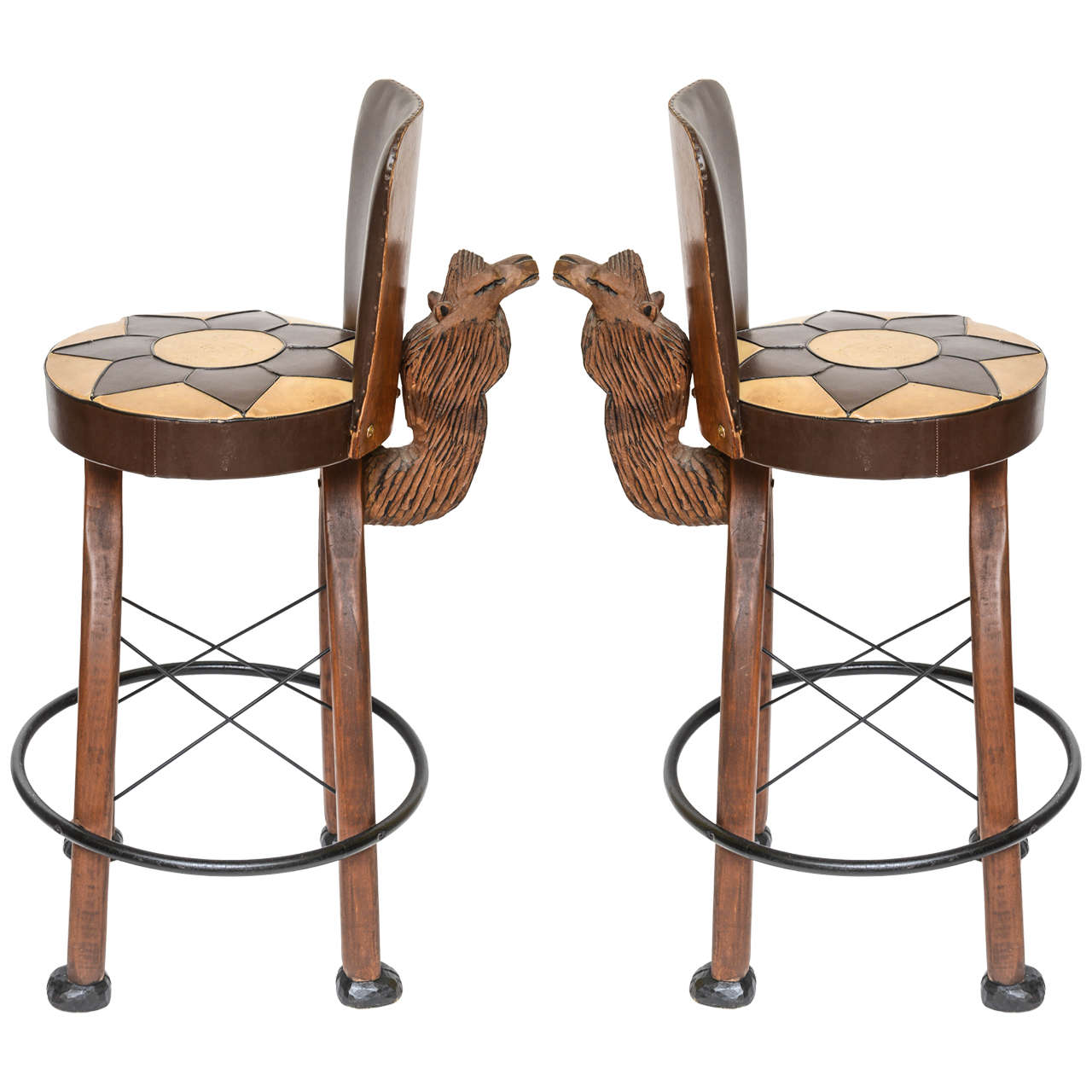 Outstanding Pair Of Whimsical Carved Camel Motif Bar Stools At 1Stdibs Creativecarmelina Interior Chair Design Creativecarmelinacom