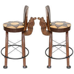 Pair of Whimsical Carved Camel Motif Bar Stools