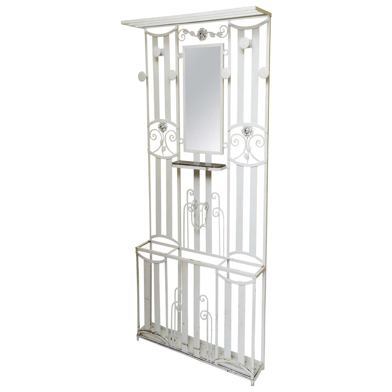 Art Deco French Iron Entry Hall Stand or Tree Painted in White