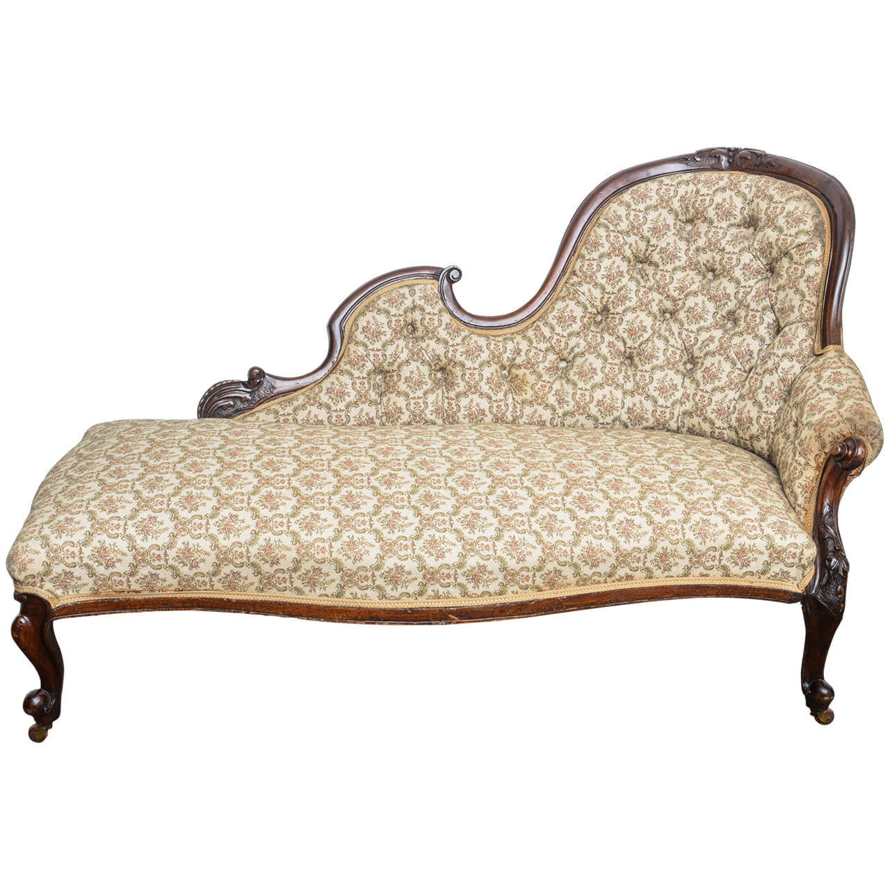 superb english walnut cabriolet legs chaise longue at 1stdibs. Black Bedroom Furniture Sets. Home Design Ideas