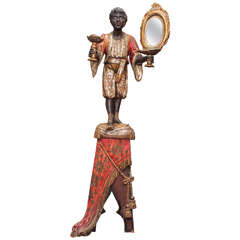 19th Century Venetian Polychromed Blackamoor Statue on a Draped Pedestal