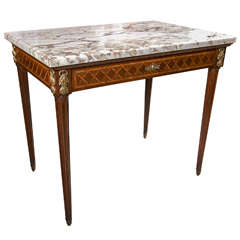 French Marquetry Inlaid Marble-Top Table