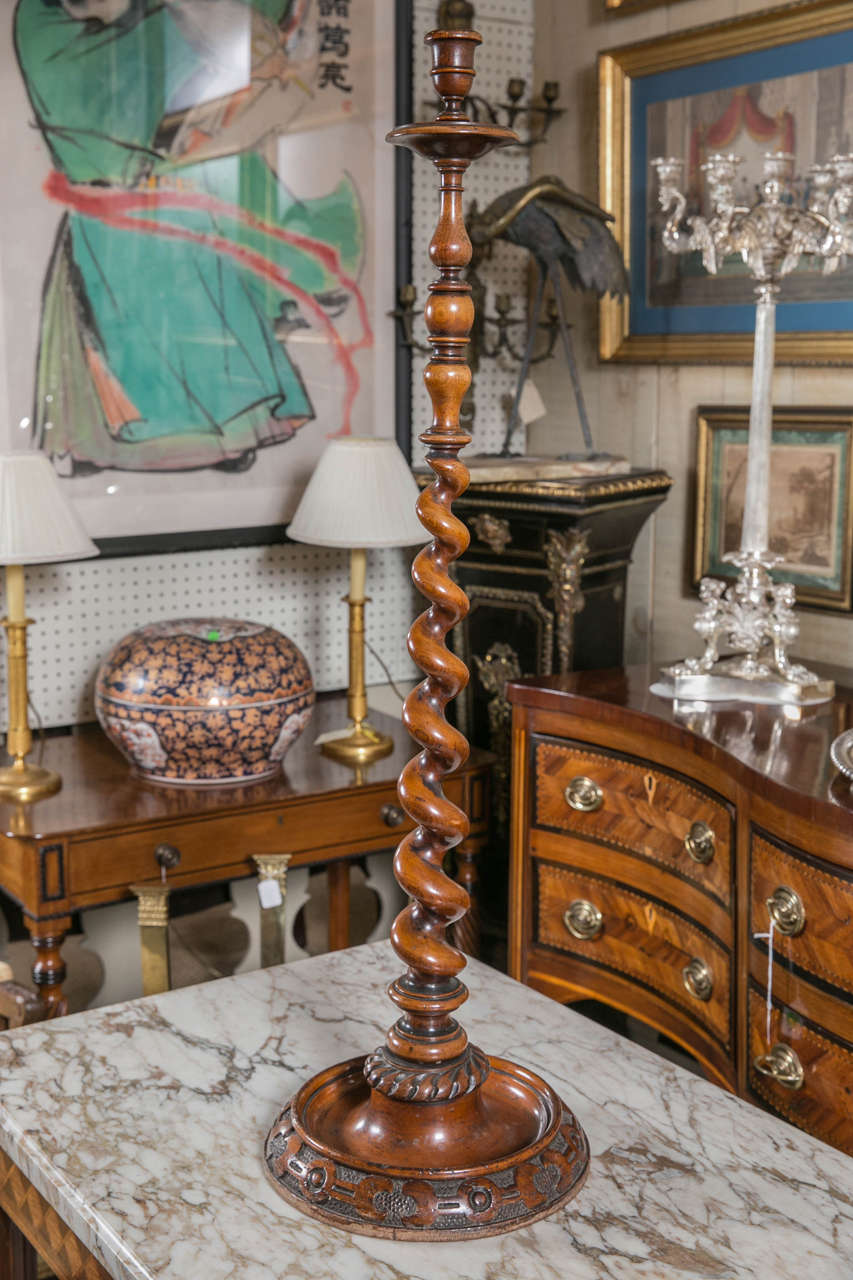 Antique Barley Twist Standing Candlestick For Sale At 1stdibs