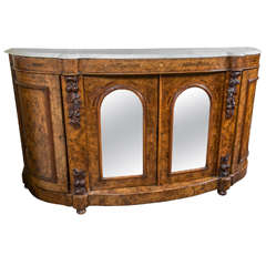 Marble-Top and Burl Walnut Renaissance Revival Credenza