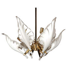 1960's Murano Glass & Brass Six Light Chandelier