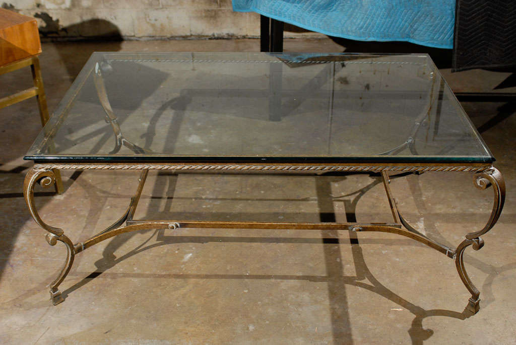 Mid C Large Scale Coffee Table With Glass Top At 1stdibs