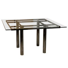 Mid-Century Contemporary Metal Dining Table, Attributed to Tobia Scarpa