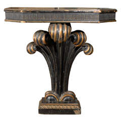 Mid C Black And Giltwood Pedestal Console