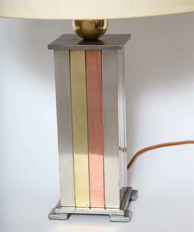 1930s American Modernist Art Deco Mixed Metal Table Lamp In Excellent Condition For Sale In New York, NY