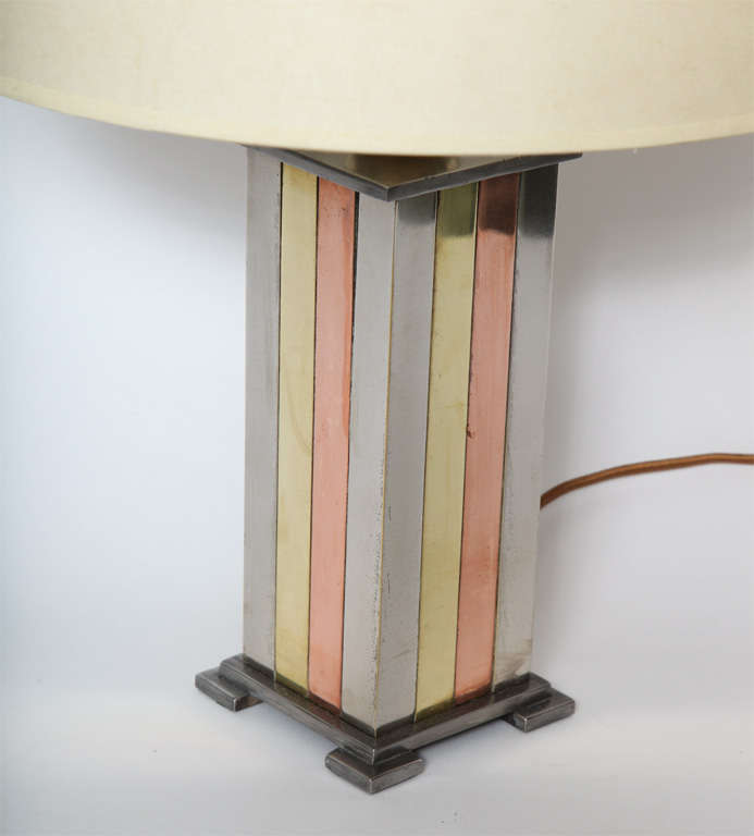 Mid-20th Century 1930s American Modernist Art Deco Mixed Metal Table Lamp For Sale