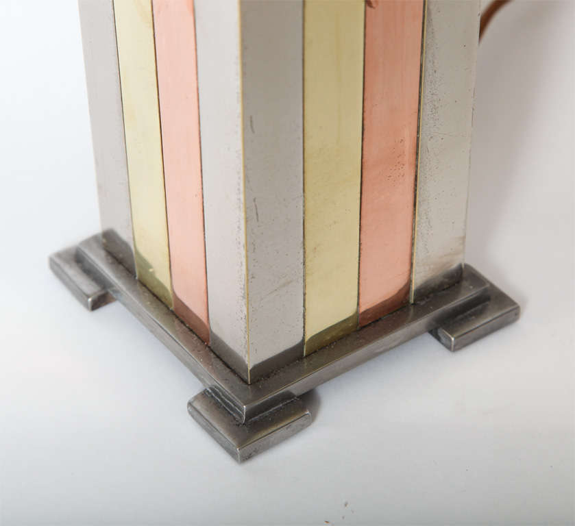 Brass 1930s American Modernist Art Deco Mixed Metal Table Lamp For Sale