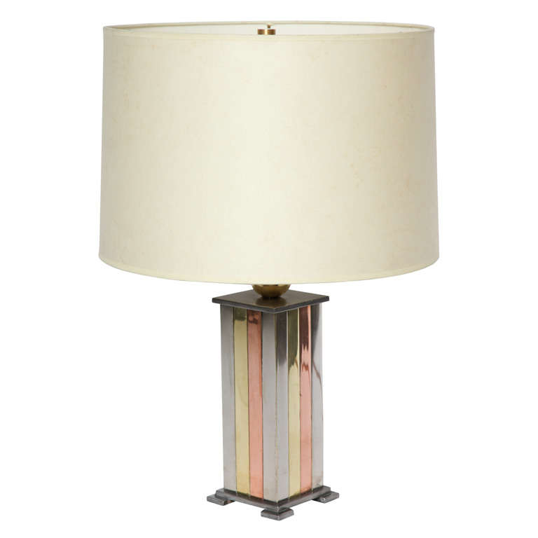 1930s American Modernist Art Deco Mixed Metal Table Lamp