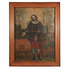 19th Century Framed Portrait of San Ysidro, Oil on Canvas