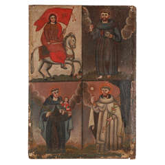 19th Century Oil of Santiago, St. Anthony, St. Francis, and perhaps St. Peter