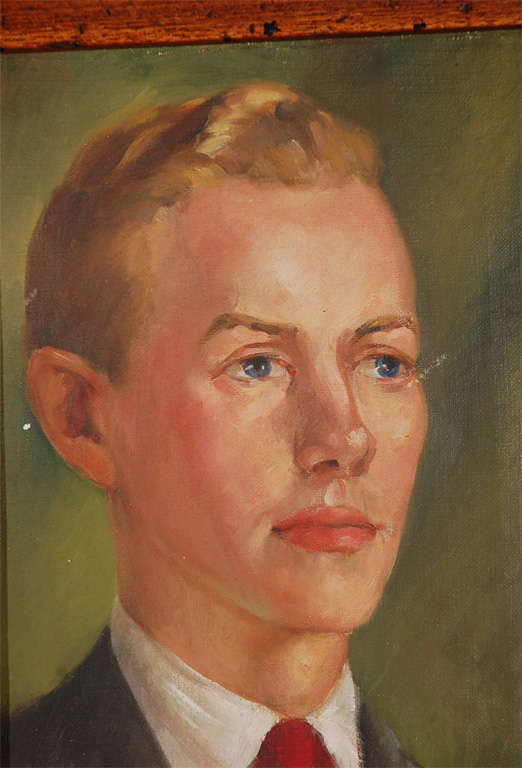 Oil portrait on canvas of young man, painted by Kay Darnella (sp?) 1942.