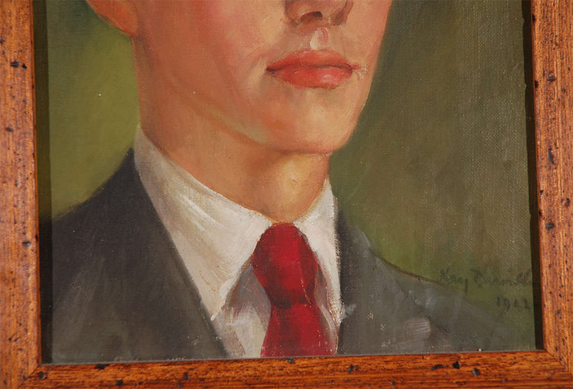 American 1940s Oil Portrait of Young Man with Period Style Contemporary Frame For Sale