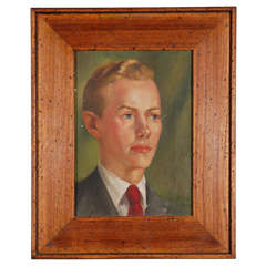 1940s oil portrait of young man with period style contemporary frame.