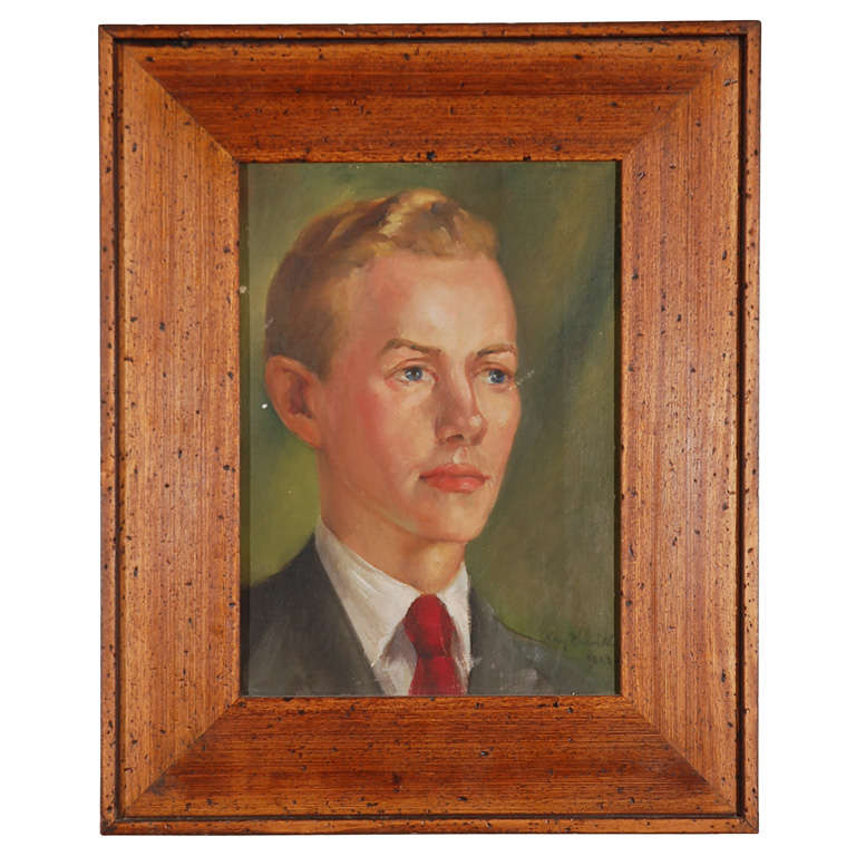 1940s Oil Portrait of Young Man with Period Style Contemporary Frame