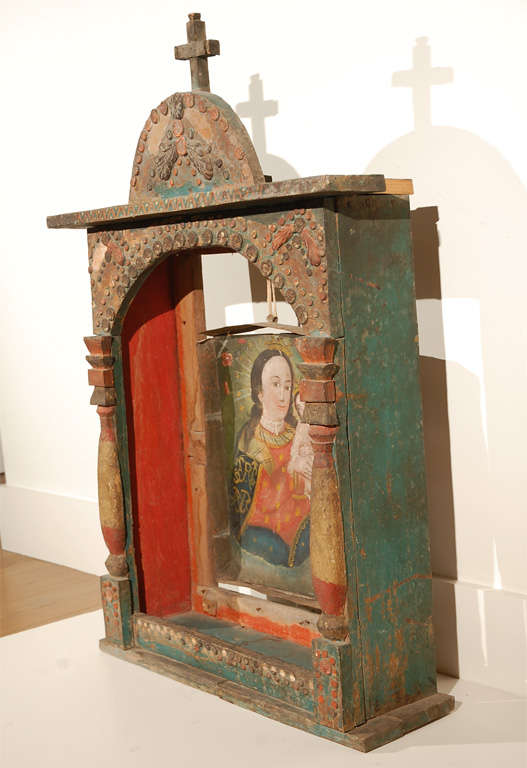 Spanish Colonial Altar Frame With Suspended Retablo At 1stdibs