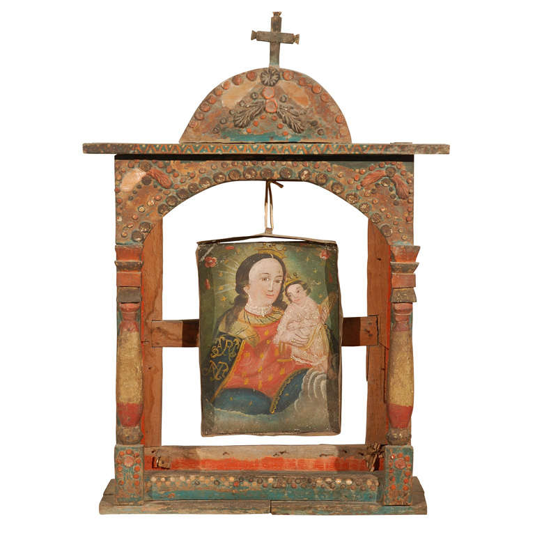 Spanish colonial altar frame with suspended retablo at 1stdibs for Altar wall decoration