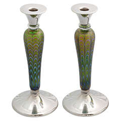 Unusual Pair of Sterling Silver-Mounted Art Glass Candlesticks