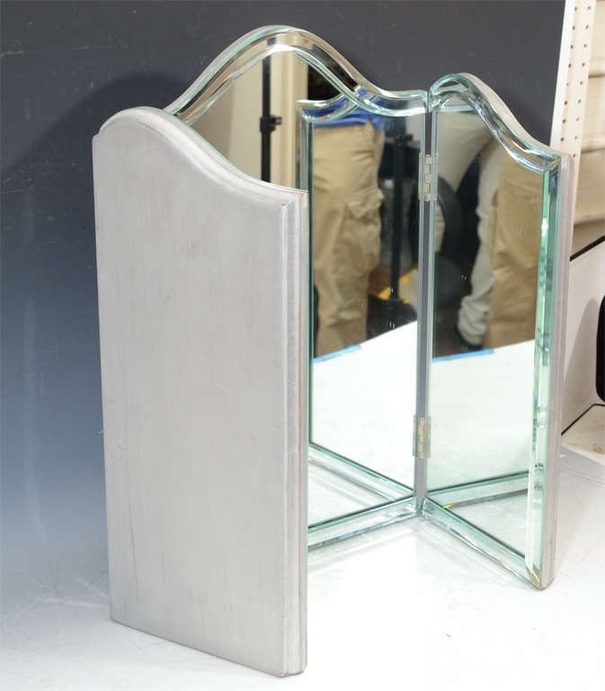 Antique tri fold vanity mirror images for Tri fold mirror
