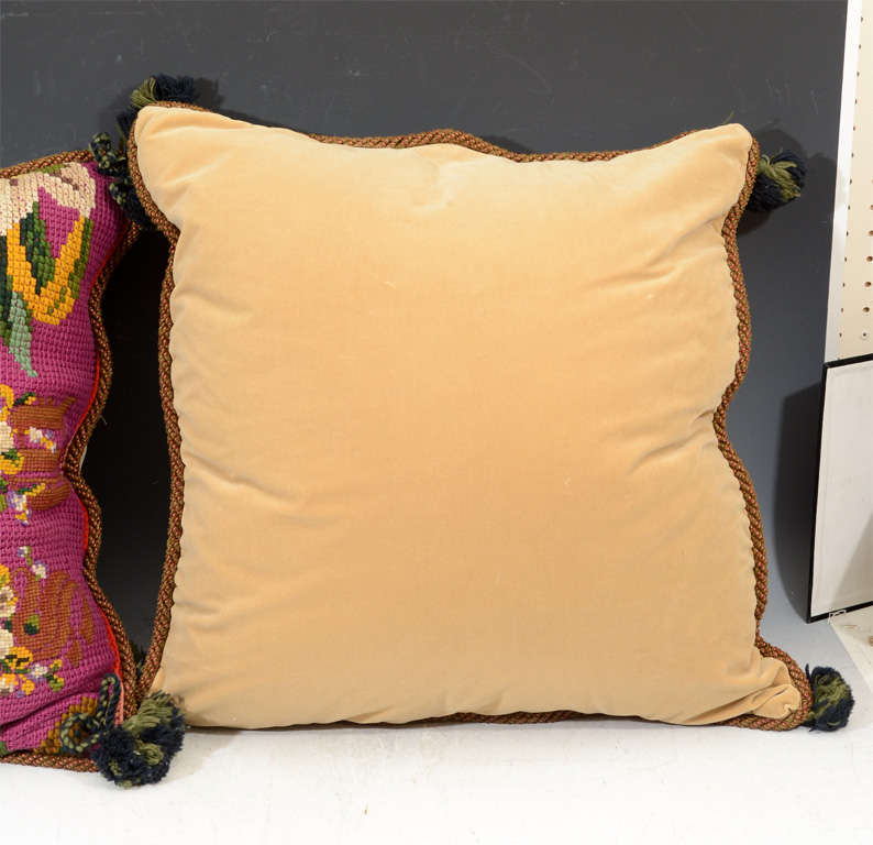 Throw Pillows Down Filled : Four Custom Down-Filled Throw Pillows from Victorian Afghan at 1stdibs