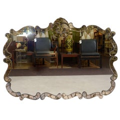 Large Mid Century Mirror with Mirrored Frame and Gold Detailing