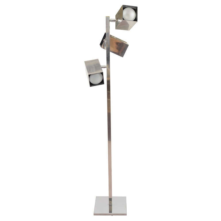 this mid century directional three light floor lamp by koch and lowy. Black Bedroom Furniture Sets. Home Design Ideas
