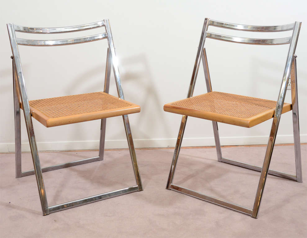A Set Of Four Vintage Chrome Folding Chairs With Woven Cane Seats. Reduced  From $1150.00. American Mid Century ...