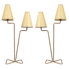 Pair of Mid Century French Brass Lamps in the Style of Jean Royere