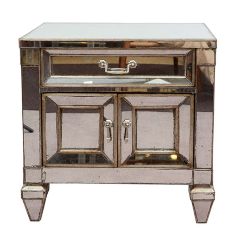 Single Vintage Mirrored Side Table With Drawer And Cabinet
