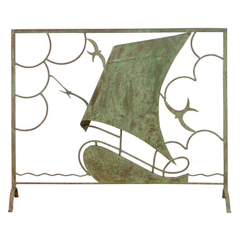 Vintage Nautical Themed Copper Fire Screen with Aged Patina at 1stdibs
