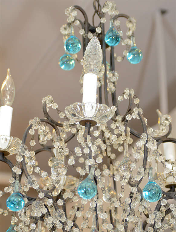A petite French chandelier with five lights and an iron frame adorned with  clear and blue - Vintage French Crystal Chandelier With Blue Accents At 1stdibs