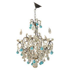 Vintage French Crystal Chandelier with Blue Accents