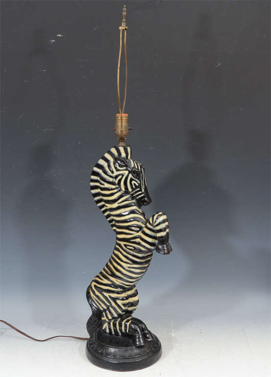 Matched Pair Of Hand Painted Cast Plaster Italian Rearing Zebra Form Table  Lamps.