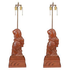 Art Deco Carved Wood Figural Lamp by Heifetz