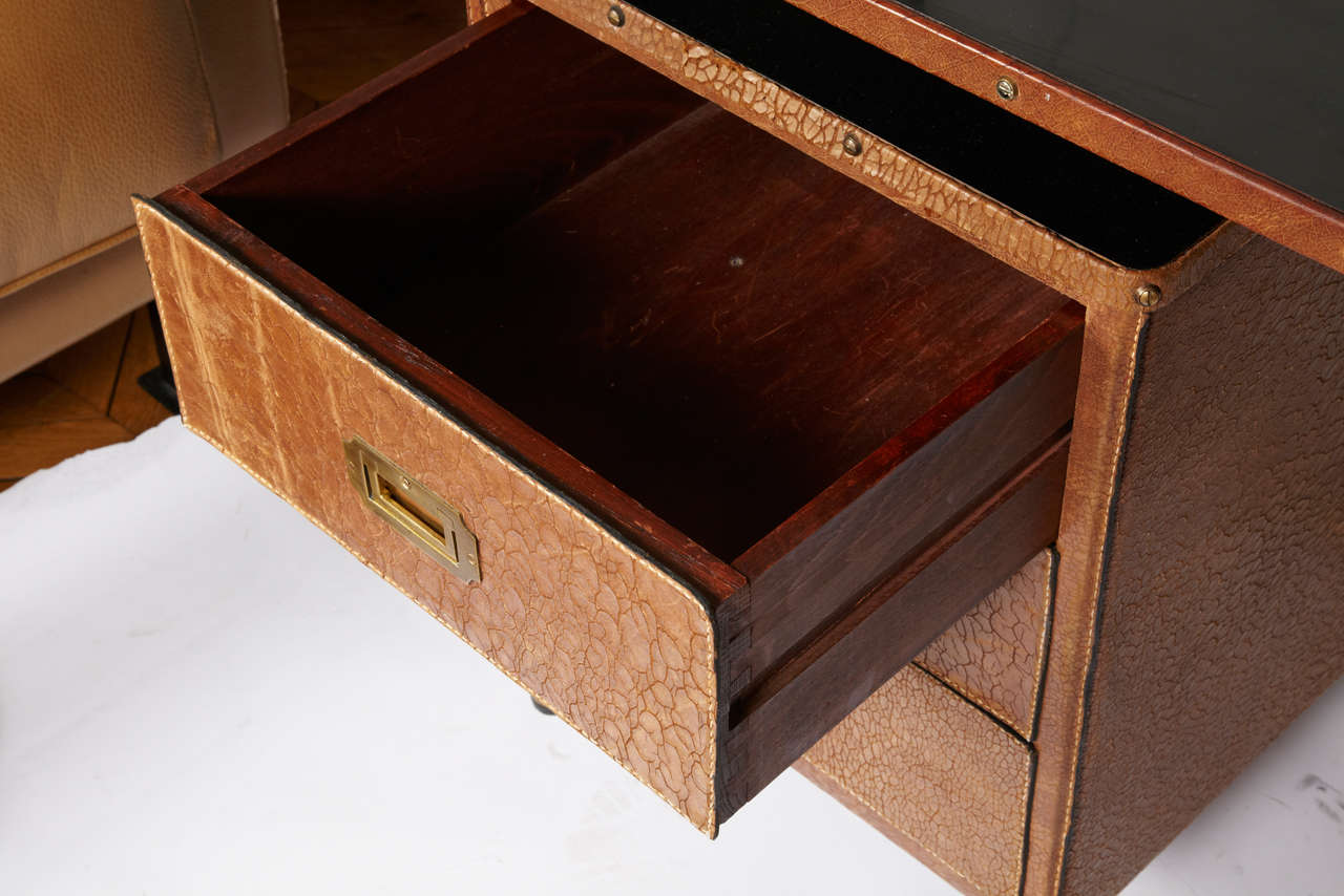 French Fantastic 1950s Stitched Leather Desk by Jacques Adnet For Sale
