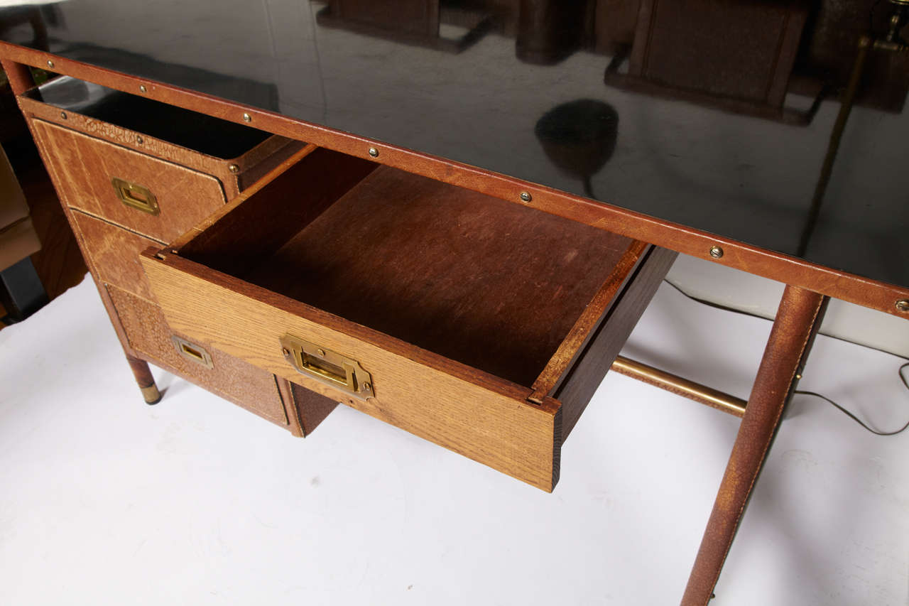 Mid-20th Century Fantastic 1950s Stitched Leather Desk by Jacques Adnet For Sale