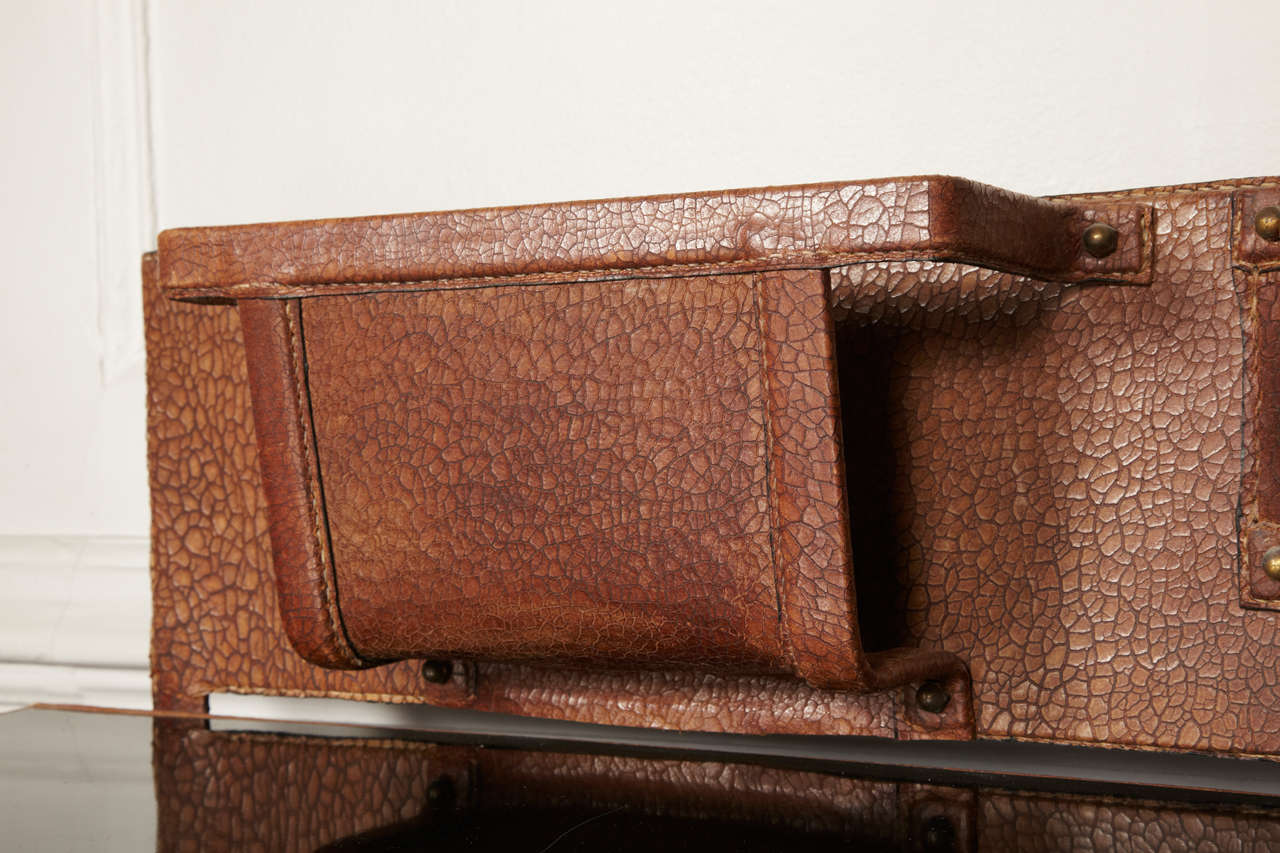 Fantastic 1950s Stitched Leather Desk by Jacques Adnet For Sale 1