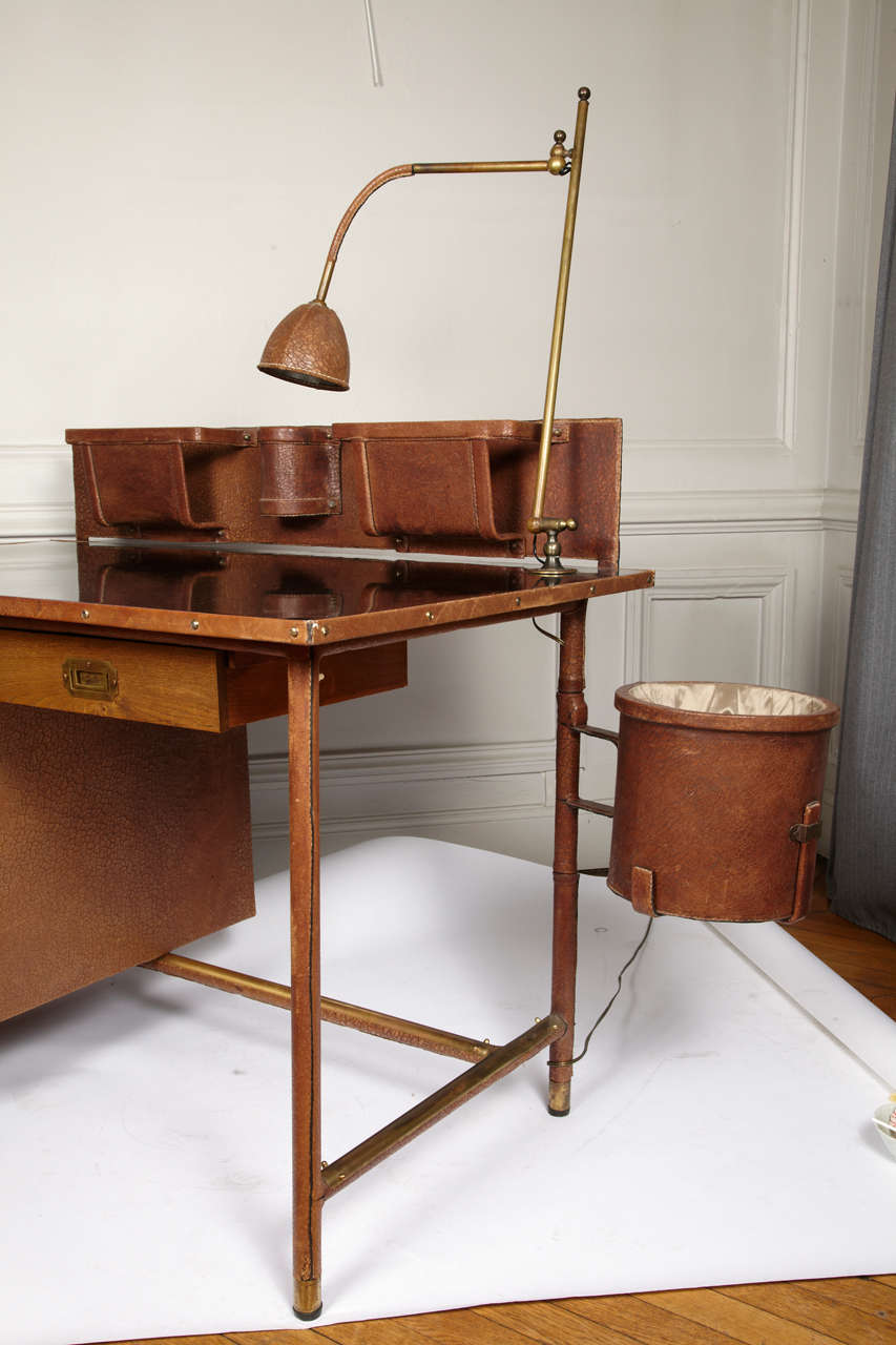 Fantastic 1950s Stitched Leather Desk by Jacques Adnet For Sale 4