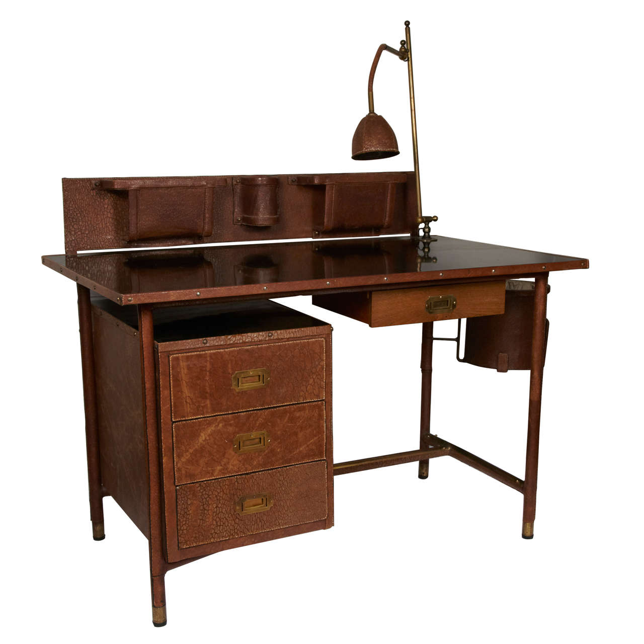 Fantastic 1950s Stitched Leather Desk by Jacques Adnet For Sale