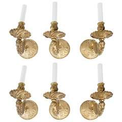 6 Gilt-Metal Electrified Sconces
