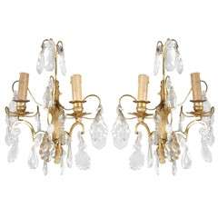 Gilt-Metal & Crystal Electrified Sconces, Pair