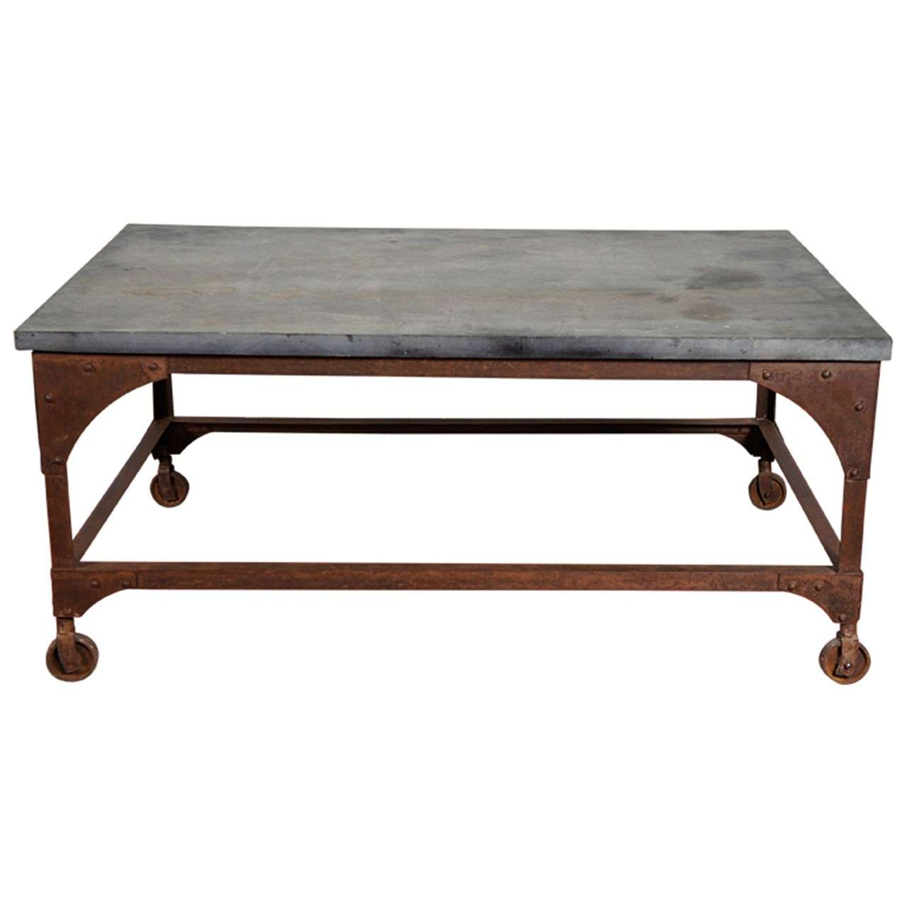 Industrial Belgian Blue Stone and Iron Coffee Table at 1stdibs