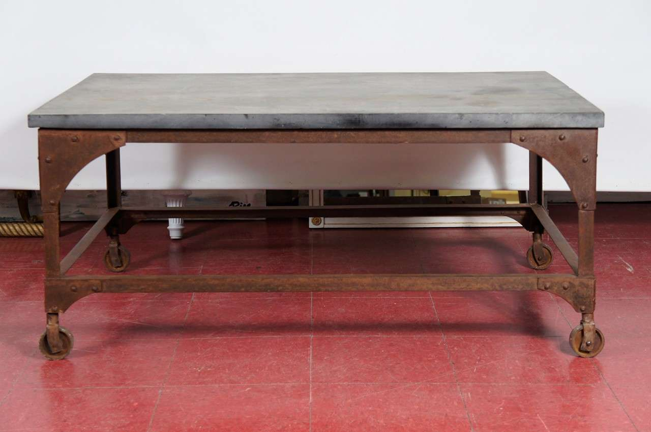 Industrial Belgian Blue Stone U0026 Iron Coffee Table 3
