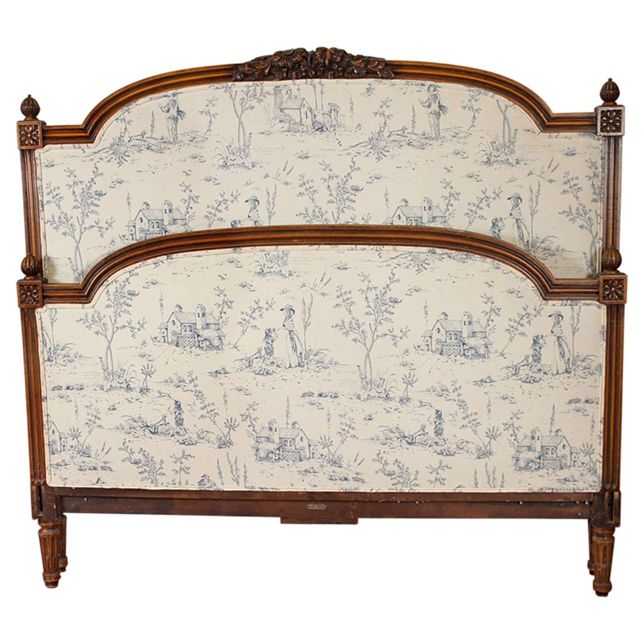 Antique french iron bed - French Upholstered Headboard 1